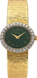 Timepieces:Wristwatch, Piaget. A Lady's 18k Gold And Diamond Wristwatch With Jade Dial onBracelet. ...
