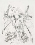 Original Comic Art:Miscellaneous, Christian Gossett Lady Death: Re-Imagined #1 PreliminaryCover Original Art (Chaos! Comics, 2002)....
