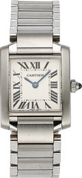 Timepieces:Wristwatch, Cartier Lady's Tank Francaise Wristwatch, circa 2000's. ...