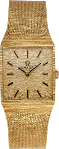 Timepieces:Wristwatch, Omega, 14k Gold Gents Dress Manual Watch circa 1970's. ...