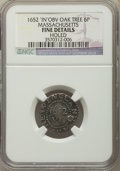 Colonials, 1652 6PENCE Oak Tree Sixpence, IN on Obverse -- Holed -- NGC Details. Fine. ...