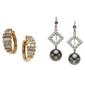 Estate Jewelry:Earrings, Diamond Ruby, Cultured Pearl, Platinum, Gold Earrings. ... (Total:2 Items)