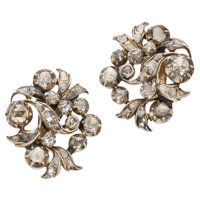 Antique Diamond, Silver-Topped Gold Earrings