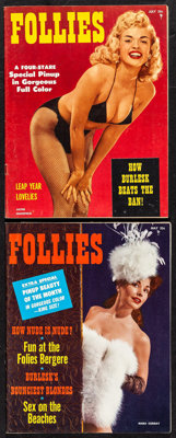 """Follies Magazine (Magtab, 1956). Pinup Magazines (2) (Multiple Pages, 8"""" X 10.25""""). Miscellaneous. ... (Total:..."""