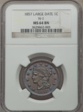 Large Cents, 1857 1C Large Date, N-1, R.1, MS64 Brown NGC....
