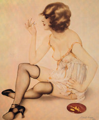 After Alberto Vargas (American, 1896-1982) Smoke Dreams, 1980 Offset lithograph in colors 20 x 16