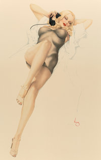 After Alberto Vargas (American, 1896-1982) First Love, 1986 Lithograph on Opalesque paper 39.5 x