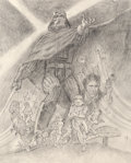 Concept, Tom Jung (American, 20th Century). Star Wars: Episode V - Empire Strikes Back, movie poster concept art, 1980. Pencil on...