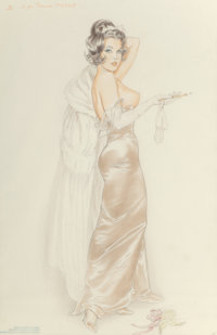 Alberto Vargas (American, 1896-1982) D for Darned, preliminary Sketch, circa 1960 Pencil and pastel