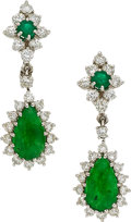 Estate Jewelry:Earrings, Jadeite Jade, Diamond, Emerald, White Gold Earrings. ...