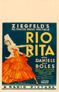 "Movie Posters:Musical, Rio Rita (RKO, 1929). Window Card (14"" X 22"").. ..."