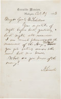 Autographs:U.S. Presidents, Abraham Lincoln Autograph Letter Signed to General George McClellan....