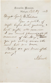 Abraham Lincoln Autograph Letter Signed to General George McClellan