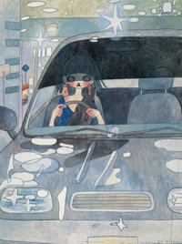 Aya Takano (b. 1976) Drive with a Night Dog, 2006 Offset lithograph in colors on smoothe wove paper<