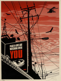 Shepard Fairey (b. 1970) Big Brother City, 2007 Screenprint in colors on cream speckled paper 24