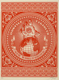 Prints & Multiples, Shepard Fairey (b. 1970). Hostile Takeover (Red and Black) (two works), 2007. Screenprints in colors on cream speckled p... (Total: 2 Items)