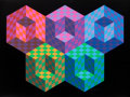 Fine Art - Work on Paper:Print, Victor Vasarely (1906-1997). Hexa 5, from Official Arts Portfolio of the XXIVth Olympiad, Seoul, Korea, 1988. Silksc...