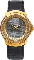 Timepieces:Wristwatch, Corum New/Old Stock Gold & Diamond Meteorite Dial Watch. ...