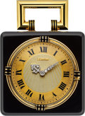 Timepieces:Clocks, Cartier Very Fine Onyx, Gold & Enameled Clock, European Watch & Clock Co., circa 1920's. ...