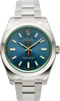 Timepieces:Wristwatch, Rolex Ref. 116400GV Unused Steel Milgauss, Z-Blue Dial. ...