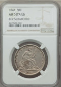 Seated Half Dollars: , 1843 50C -- Rev Scratched -- NGC Details. AU. NGC Census: (14/139). PCGS Population: (37/177). CDN: $250 Whsle. Bid for pro...