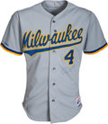 Baseball Collectibles:Uniforms, 1990 Paul Molitor Game Worn & Signed Milwaukee Brewers Jersey....