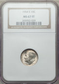 Roosevelt Dimes, 1954-S 10C MS67 Full Bands NGC. NGC Census: (41/1). PCGS Population: (23/1). CDN: $300 Whsle. Bid for problem-free NGC/PCGS...