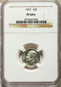 Proof Roosevelt Dimes, 1957 10C PR69★ NGC. NGC Census: (1091/0 and 144/0*). PCGS Population: (13/0 and 144/0*). Mintage 1,247,952. ...