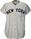 Baseball Collectibles:Uniforms, 1947 Joe DiMaggio World Series Game Five Worn & Signed New YorkYankees Jersey, MEARS A9-Photo Matched!...
