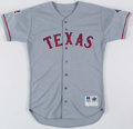Baseball Collectibles:Uniforms, 1997 Roger Pavlik Texas Rangers Game Worn Jersey with Jackie Robinson & Mark Holtz Patches....
