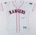 Baseball Collectibles:Uniforms, 1997 Dick Bosman Two-Game Style Texas Rangers Game Worn & Signed Jersey with Jackie Robinson & Interleague Patches....