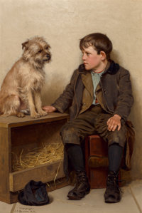 John George Brown (American, 1831-1913) A Confab, 1902-03 Oil on canvas 24-1/4 x 16 inches (61.6