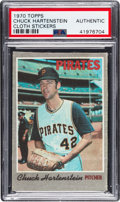 Baseball Cards:Singles (1970-Now), 1970 Topps Test Cloth Stickers Chuck Hartenstein PSA Authentic - Only Two on Combined PSA & SGC Census. ...