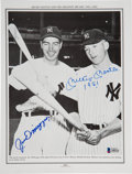 Baseball Collectibles:Photos, Circa 1990 Mickey Mantle & Joe DiMaggio Multi-Signed Book Page,PSA/DNA Gem Mint 10. ...