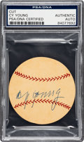 Baseball Collectibles:Others, 1940's Cy Young Signed Baseball Cut. ...