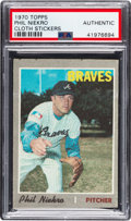 Baseball Cards:Singles (1970-Now), 1970 Topps Test Cloth Stickers Phil Niekro PSA Authentic - Only Two on Combined PSA & SGC Census. ...