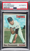 Baseball Cards:Singles (1970-Now), 1970 Topps Test Cloth Stickers Ron Perranoski PSA Authentic - The Only example on the PSA & SGC Combined Census! ...