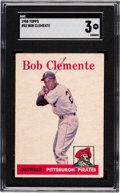 Baseball Cards:Singles (1950-1959), Unique 1958 Topps Bob Clemente #52 SGC VG 3 - Missing Yellow....