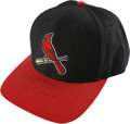 Autographs:Letters, Stan Musial Signed St. Louis Cardinals Cap. Stan Musial penned hissignature to the bill of the Cardinals cap, with the add...