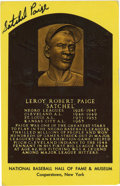 Autographs:Post Cards, Satchel Paige Signed Gold Hall of Fame Plaque. Thrilling ace Satchel Paige dazzled the Negro Leagues and was already herald...