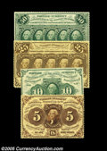 Fractional Currency:First Issue, Pre-Issue First Issue Set. The four notes are all perforated,no-monogram pieces: Fr. 1229 Gem New, Fr. 1241 Gem New, ... (7items)