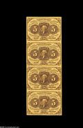 Fractional Currency:First Issue, Fr. 1230 Milton 1R5.4 5¢ First Issue Vertical Strip of Four VeryChoice New. On the back, this note bears the stamp of J.N.T...