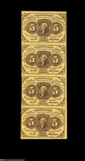 Fractional Currency:First Issue, Fr. 1230 5¢ First Issue Vertical Strip Of Four Choice New. The top note has a fold and grades About New; the others are full...