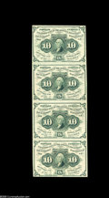 Fractional Currency:First Issue, Fr. 1242 10¢ First Issue Vertical Strip Of Four About New. Thestrip grades About New due to a fold between the second and t...