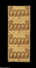 Fractional Currency:First Issue, Fr. 1281 25¢ First Issue Vertical Strip Of Four About New. A lightvertical fold lowers the grade on this otherwise Gem stri...