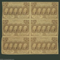 Fractional Currency:First Issue, Fr. 1281 25¢ First Issue Uncut Block Of Six Very Fine. Lightlycirculated as a dollar-fifty piece. Bright and attractive wit...
