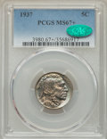 Buffalo Nickels: , 1937 5C MS67+ PCGS. CAC. PCGS Population: (462/14 and 56/1+). NGCCensus: (460/6 and 9/1+). MS67. Mintage 79,485,768....