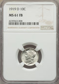 1919-D 10C MS61 Full Bands NGC. NGC Census: (4/88). PCGS Population: (4/220). Mintage 9,939,000. ...(PCGS# 4925)