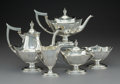 Silver Holloware, American:Tea Sets, A Five-Piece Gorham Mfg. Co. Plymouth Pattern Partial GiltSilver Tea and Coffee Service, Providence, Rhode Isla... (Total: 5Items)