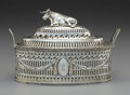Silver Holloware, American:Other , A Michael Hormer Silver Covered Butter Dish with Couchant Cow-FormFinial, Dublin, Ireland, late 18th century . Marks: (Hibe...